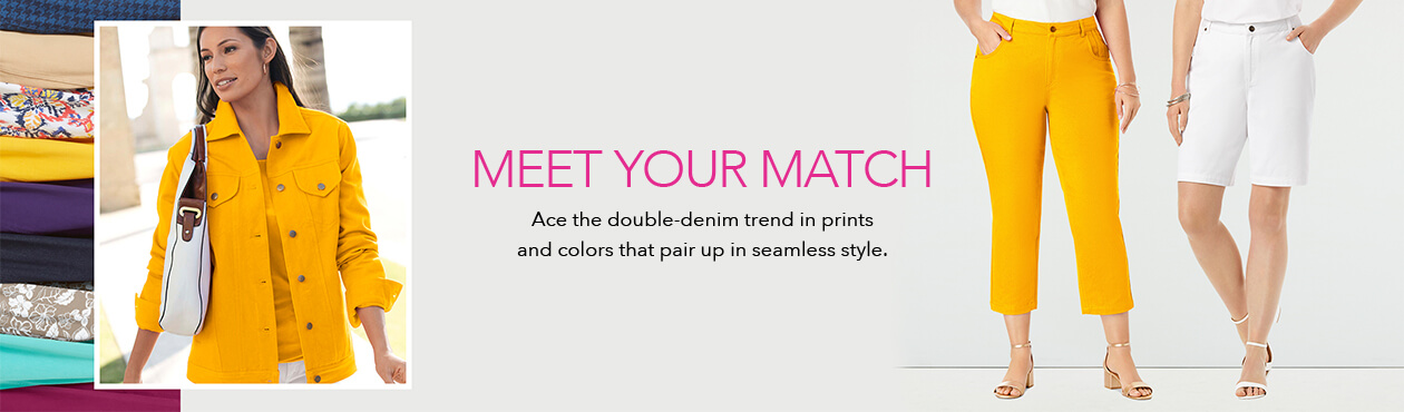 Meet Your Match - Ace the double-denim trend in prints and colors that pair up in seamless style,